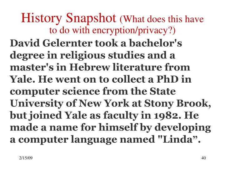 History Snapshot