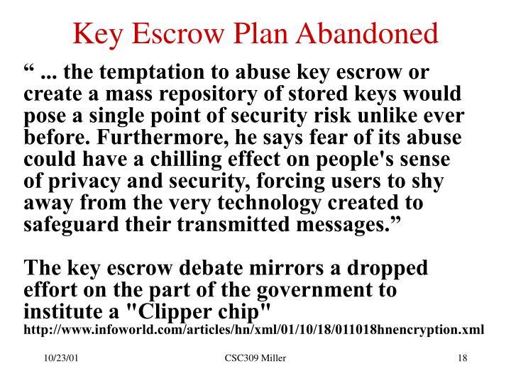 Key Escrow Plan Abandoned