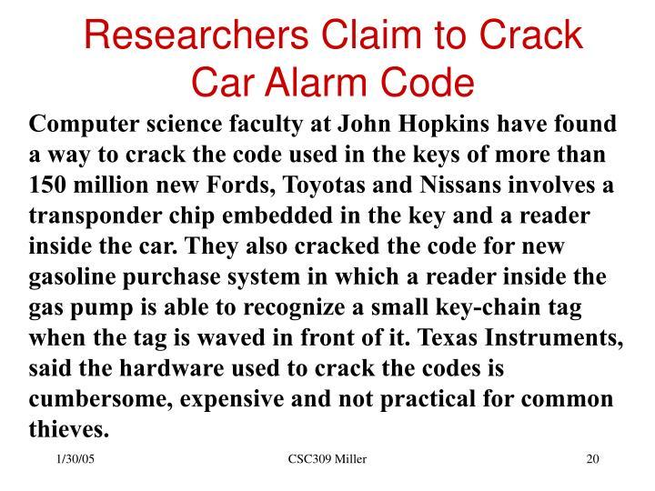 Researchers Claim to Crack Car Alarm Code