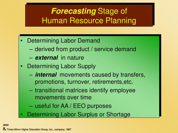 forecasting supply of human resource in What is 'human resource planning - hrp' the four key steps of the human resources planning process are analyzing present labor supply, forecasting.