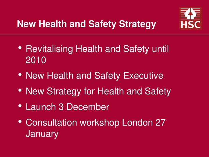 new health and safety strategy n.