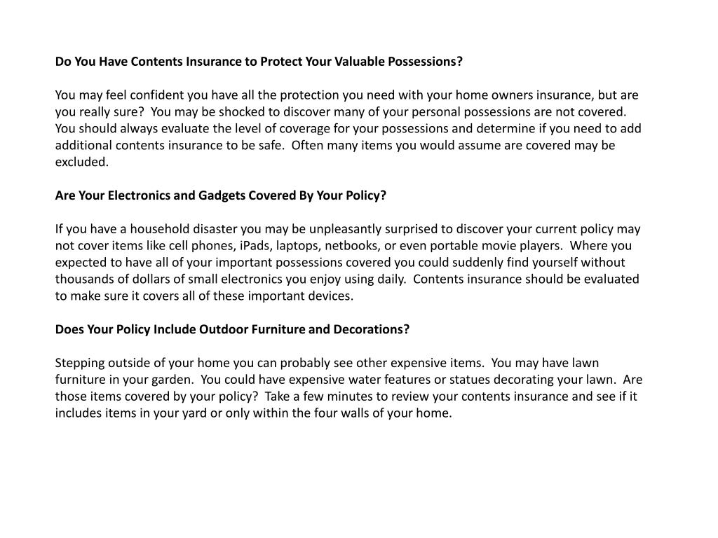 Do You Have Contents Insurance to Protect Your Valuable Possessions