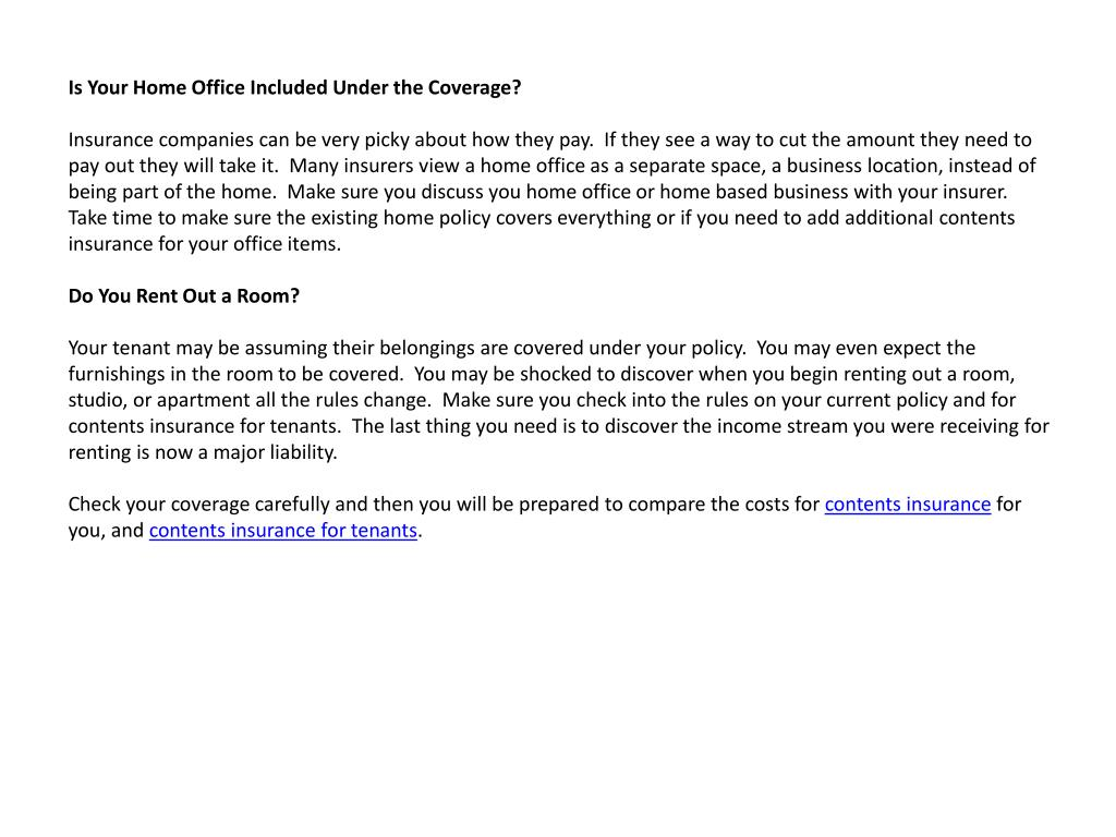 Is Your Home Office Included Under the Coverage