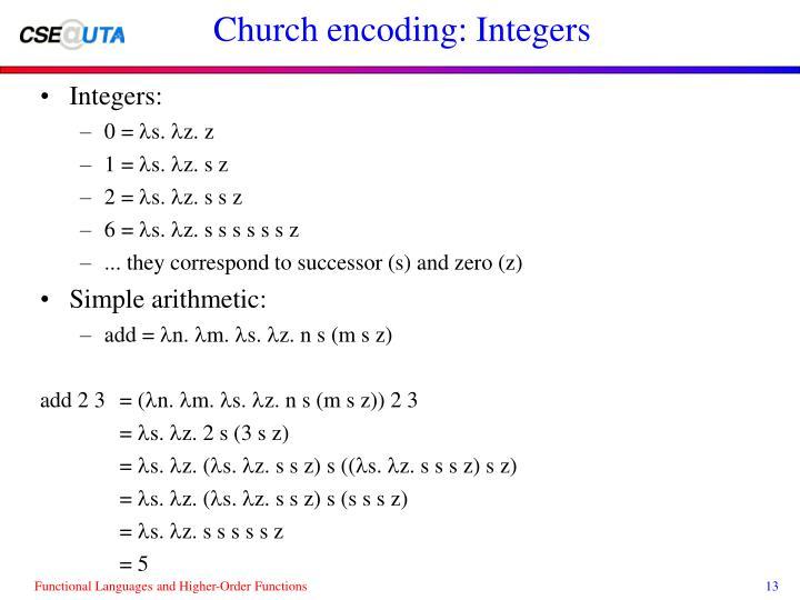 Church encoding: Integers