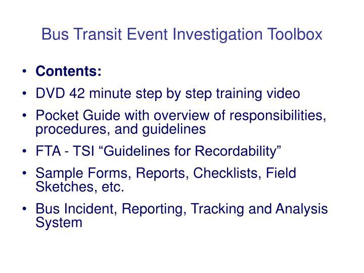 Bus Transit Event Investigation Toolbox