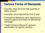various forms of discounts