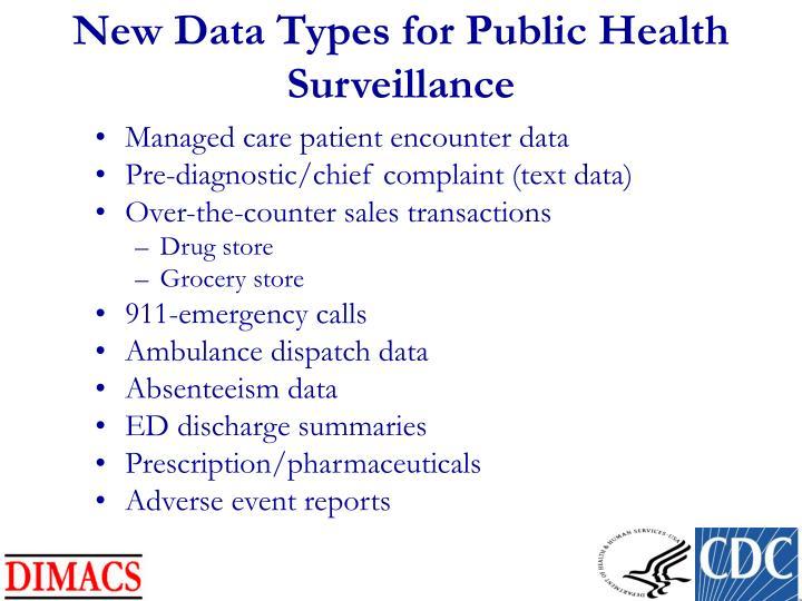 New Data Types for Public Health Surveillance