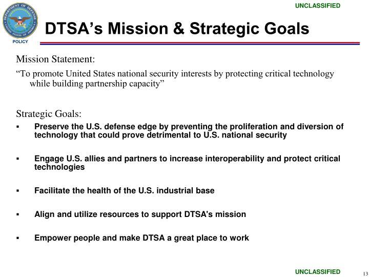 DTSA's Mission & Strategic Goals
