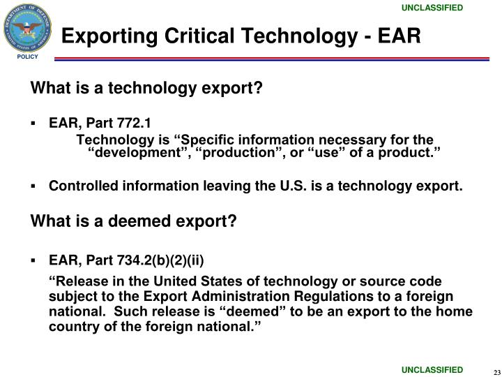 Exporting Critical Technology - EAR