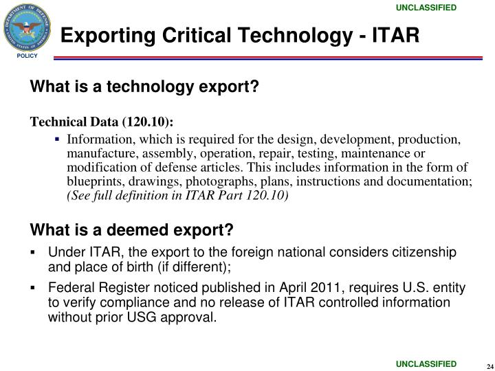 Exporting Critical Technology - ITAR
