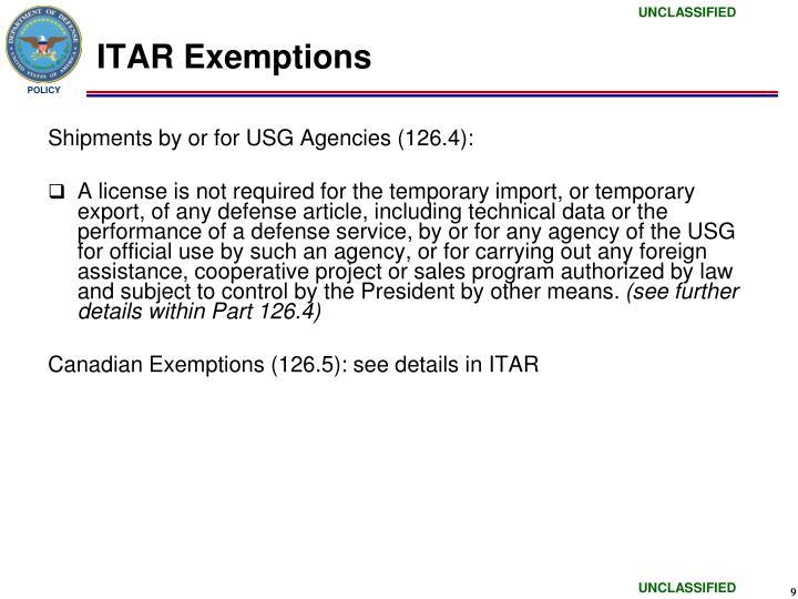 ITAR Exemptions