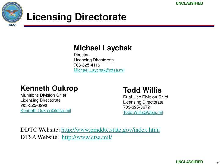 Licensing Directorate