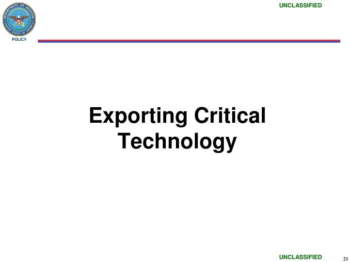 Exporting Critical