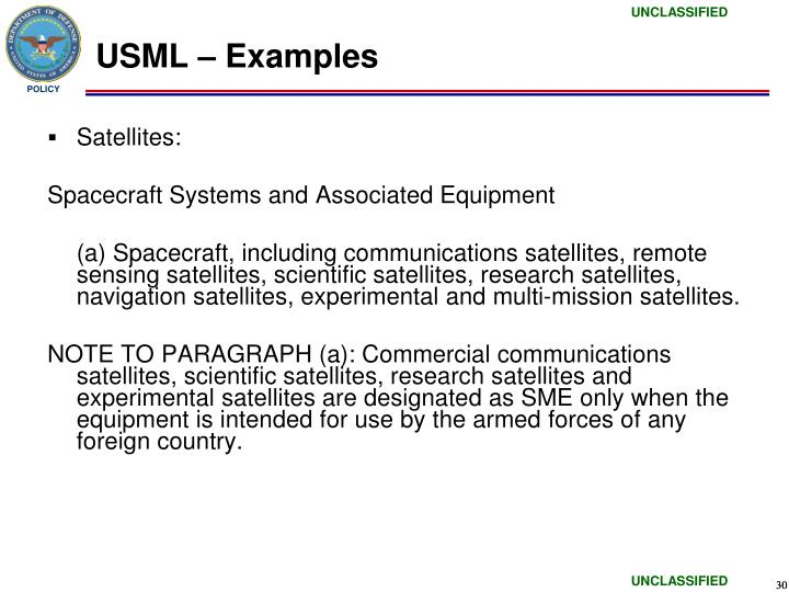 USML – Examples