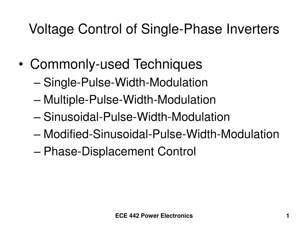 Ppt Voltage Control Of Single Phase Inverters Powerpoint Divider Controlling N