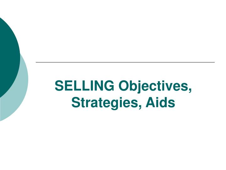 selling objectives strategies aids n.