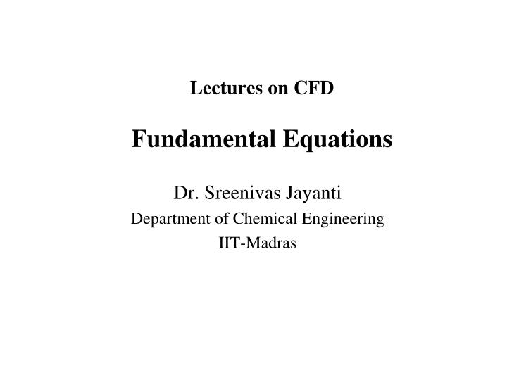 lectures on cfd fundamental equations n.