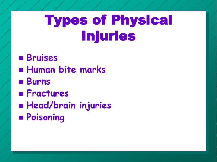 Types of Physical Injuries