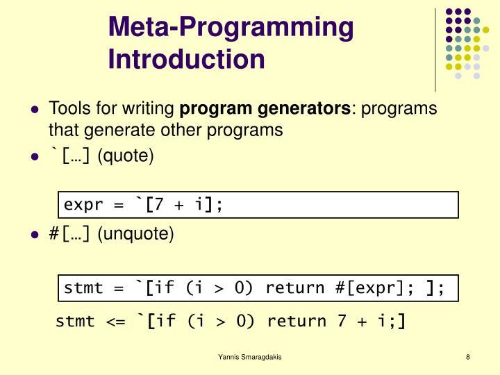 Meta-Programming Introduction