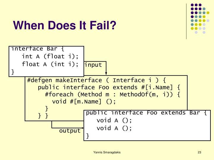When Does It Fail?