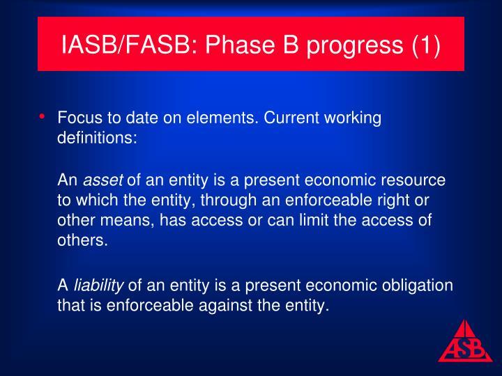 IASB/FASB: Phase B progress (1)