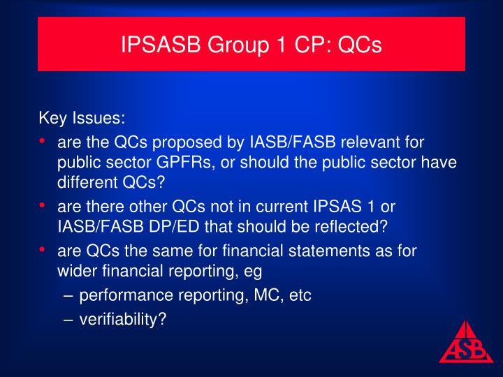 IPSASB Group 1 CP: QCs