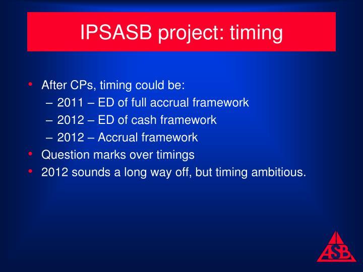 IPSASB project: timing