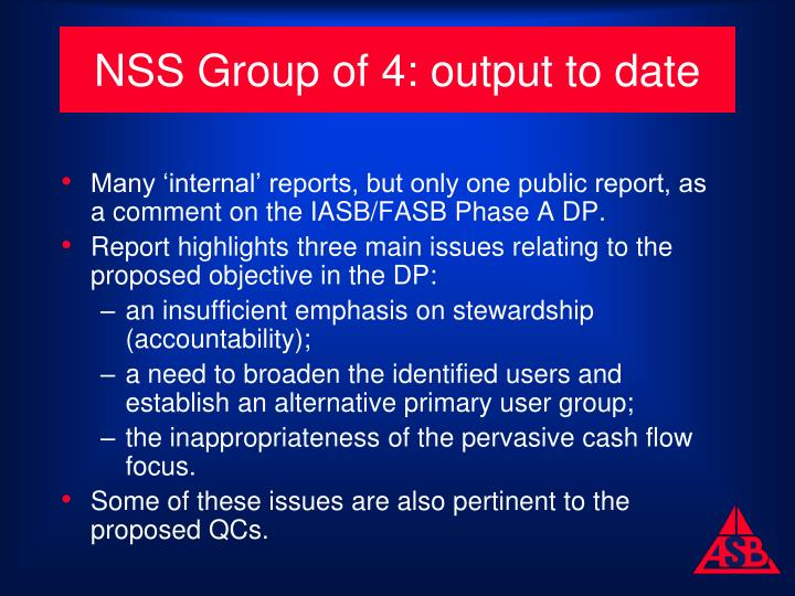 NSS Group of 4: output to date
