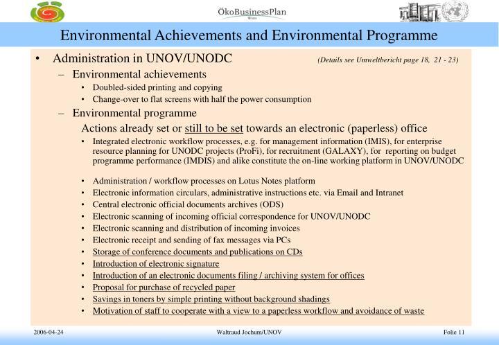 Environmental Achievements and Environmental Programme