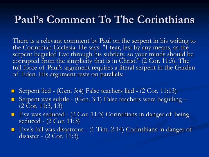 Paul's Comment To The Corinthians