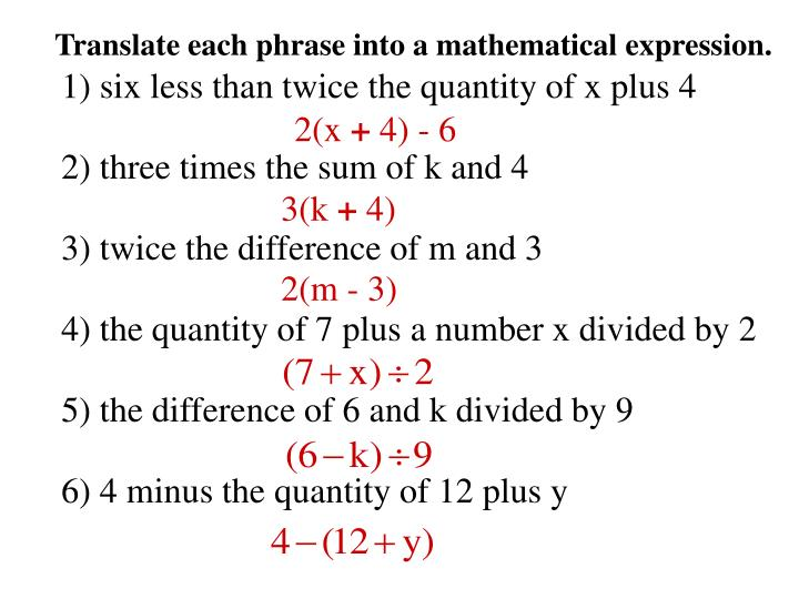 Translate each phrase into a mathematical expression.