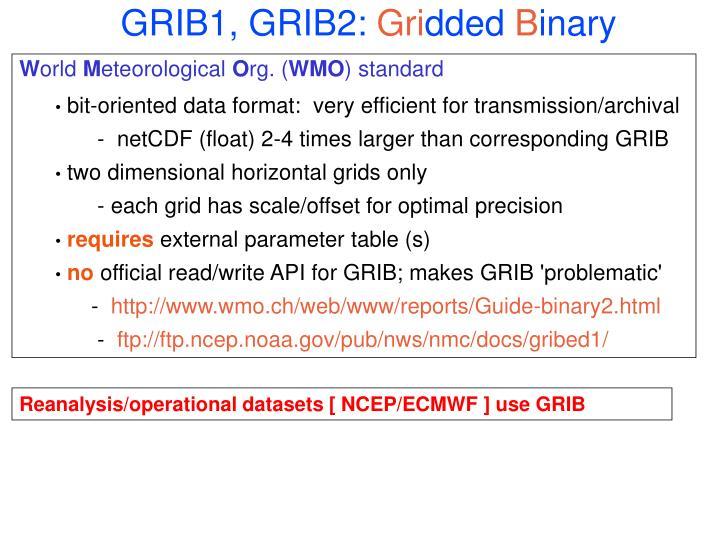 GRIB1, GRIB2: