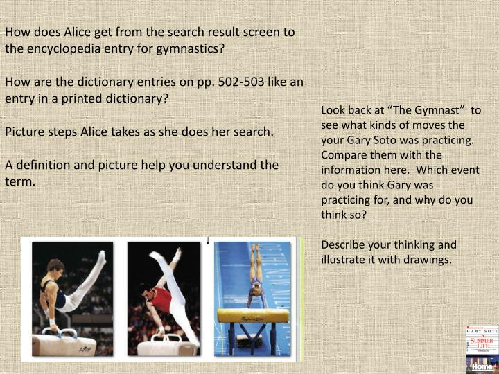 How does Alice get from the search result screen to the encyclopedia entry for gymnastics?