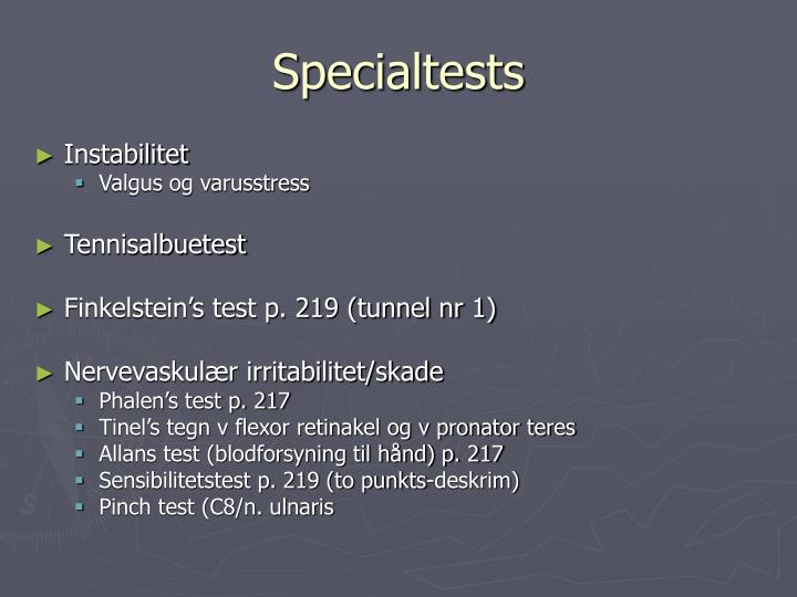 Specialtests
