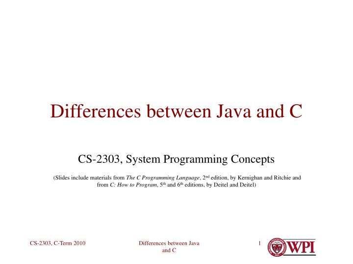 differences between java and c n.