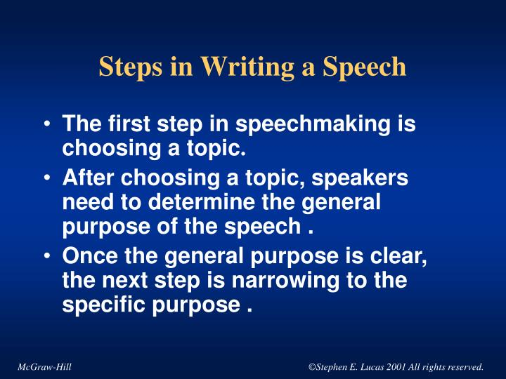 steps to write a speech Regardless of the topic, ineffective speeches fail to resonate with the audience you can avoid this by taking several steps to ensure you captivate your audience and present your speech in an.