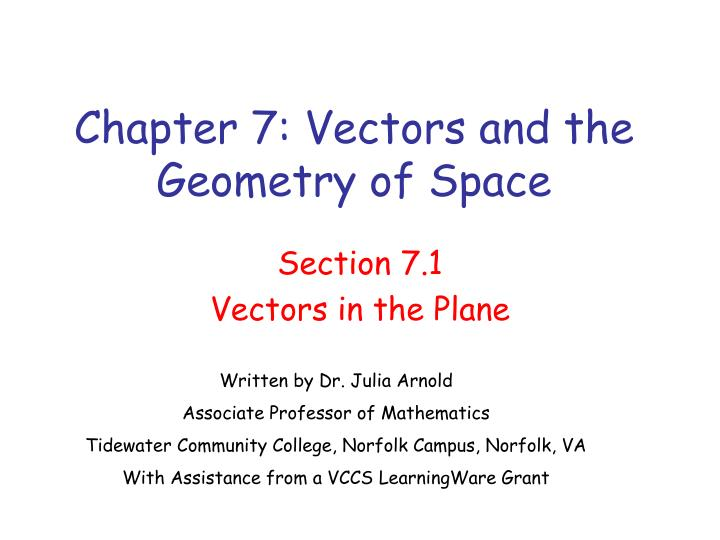 chapter 7 vectors and the geometry of space n.