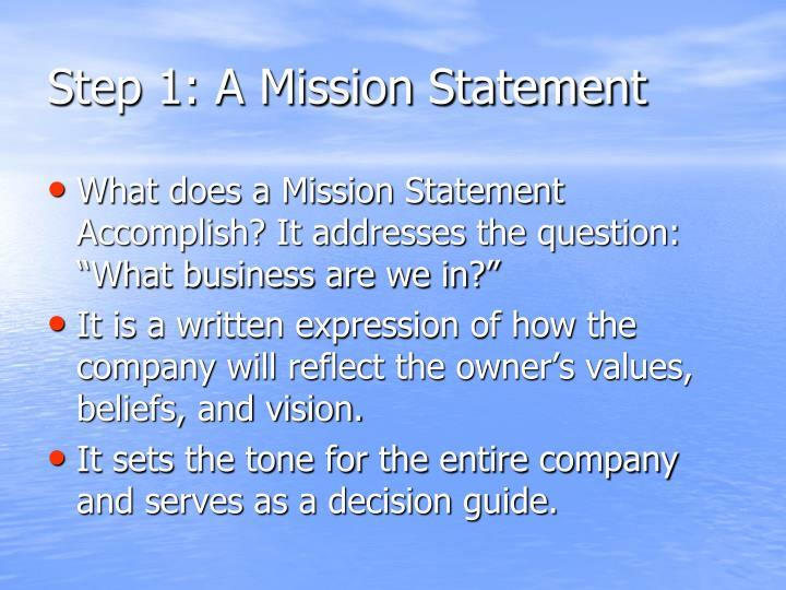 Step 1: A Mission Statement