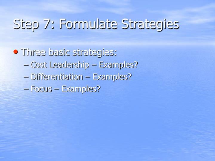 Step 7: Formulate Strategies