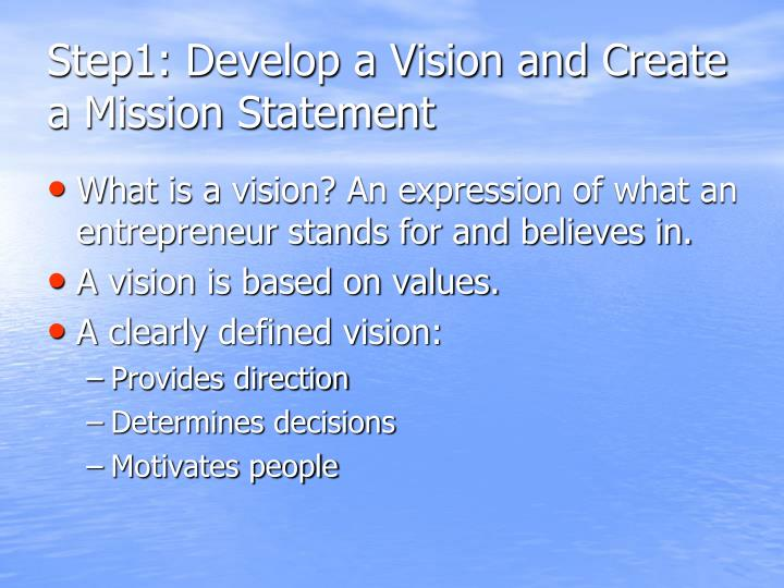 Step1: Develop a Vision and Create a Mission Statement
