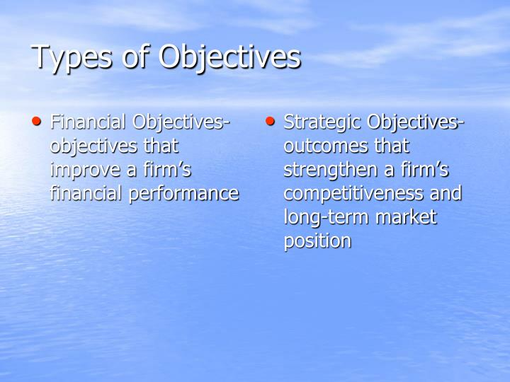 Financial Objectives- objectives that improve a firm's financial performance
