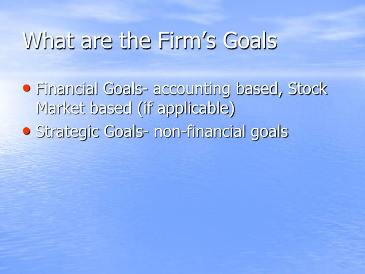 What are the Firm's Goals
