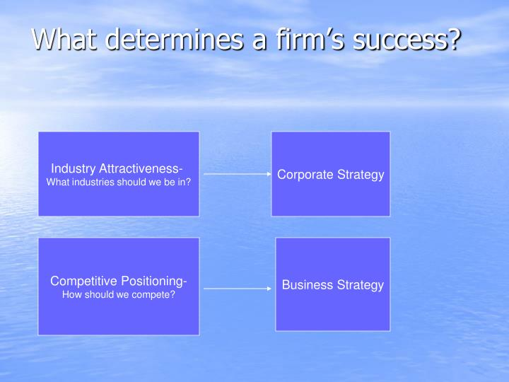 What determines a firm's success?
