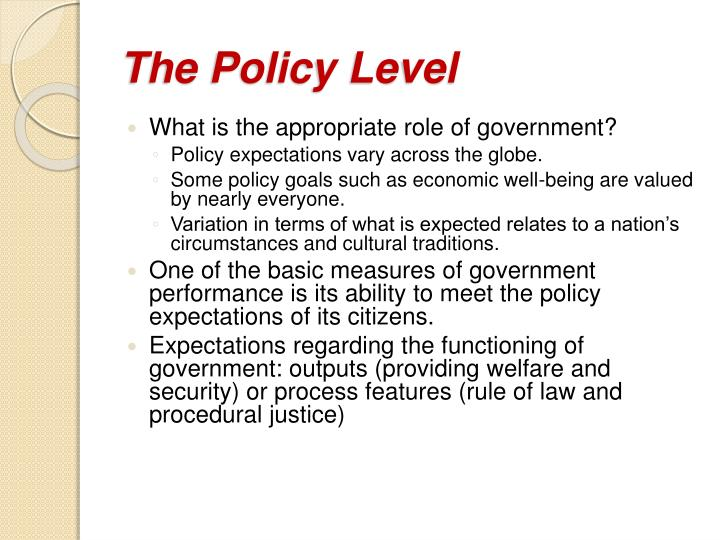 The Policy Level