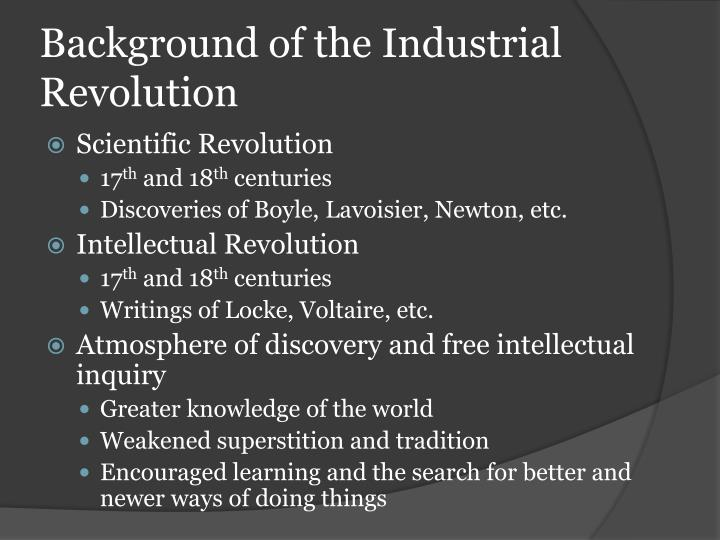 Background of the Industrial Revolution