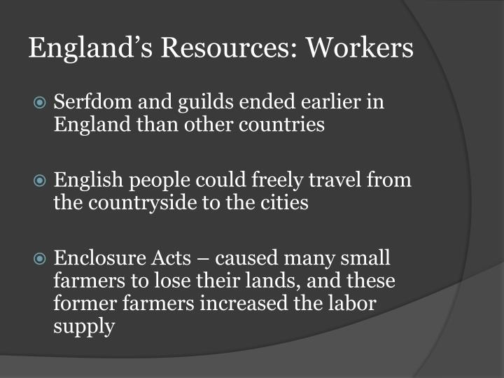 England's Resources: Workers