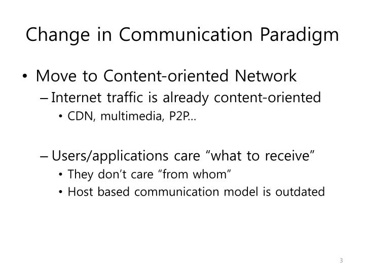 Change in communication paradigm