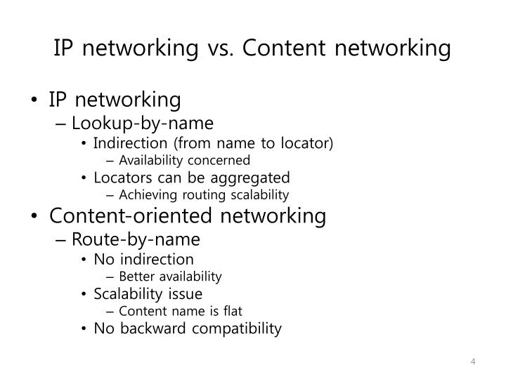IP networking vs. Content networking