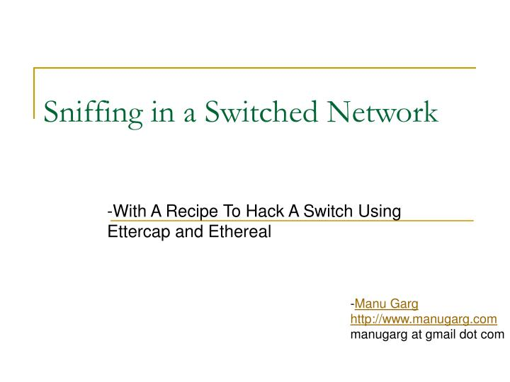 sniffing in a switched network n.