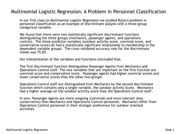 PPT - Multinomial Logistic Regression: A Problem in